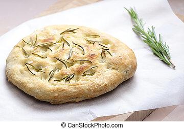 Italian bread focaccia with rosemary
