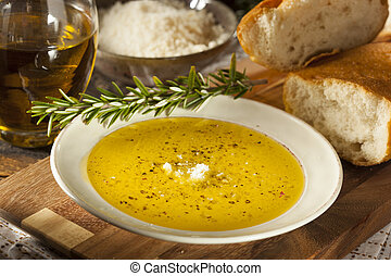Italian Bread with Olive Oil for Dipping with Pepper and...