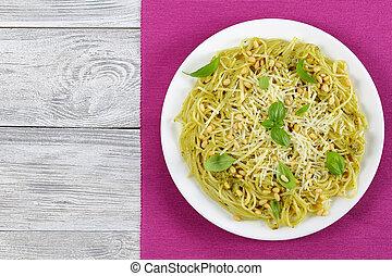 italian bucatini - spaghetti with basil sauce