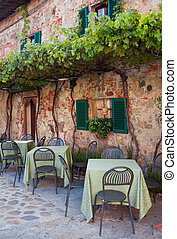 Italian cafe - Picturesque and cosy cafe of Monteriggioni,...