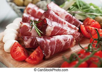 Italian capocollo, cured pork meat - Slices of capocollo or...