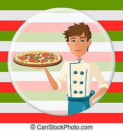 Italian cartoon cooker with pizza with salami