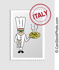 Italian cartoon person postal stamp