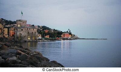 italian castle at twilight Rapallo Genoa Italian riviera...