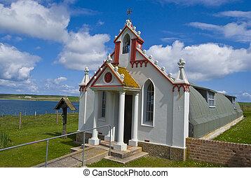 Italian Chapel on Orkney on a beautiful day