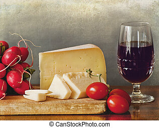 Italian cheese assortment, red wine - A delicious break:...