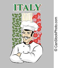 Italian chef. Chef cook and flag of Italy. Green spinach. Red tomatoes and sausage. White spaghetti pasta. Male chef with mustache. Crossed arms. Professional kitchen worker