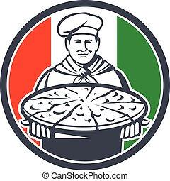 Italian Chef Cook Serving Pizza Circle Retro