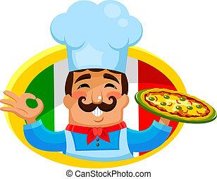 italian chef - Italian chef holding a plate of pizza