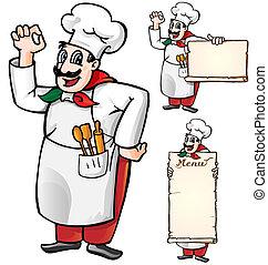 italian chef set isolated on white background