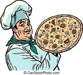 Italian chef with pizza