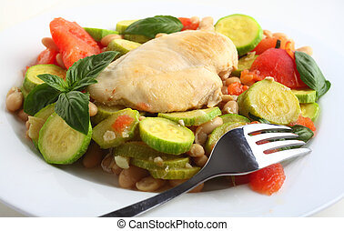 Italian chicken, with zucchini, beans and tomato - Italian ...