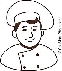 italian chief-cook logo black-white isolated cartoon vector