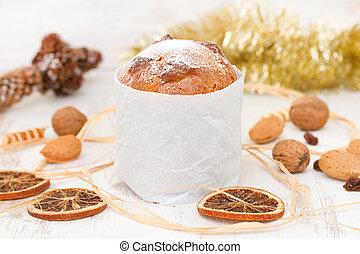 Italian Christmas dessert on white wooden background