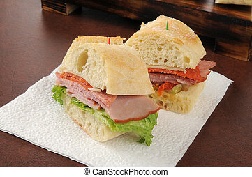 Italian cold cuts sandwich