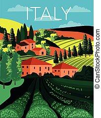 Italian country landscape in rolling hills