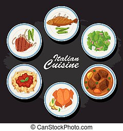 Italian cuisine background with different food on the plates