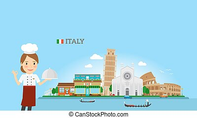 Italian Cuisine background with woman chef