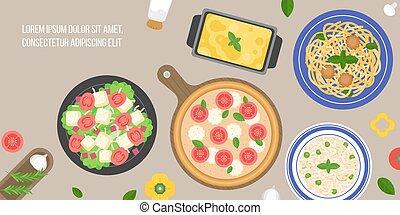 italian cuisine, caesar salad, margarita pizza, risotto...