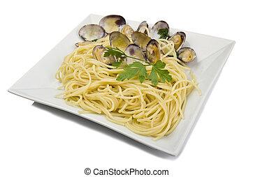 Italian Cuisine , Clams sauce with spaghetti