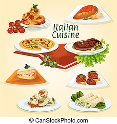 Italian cuisine dinner icon with popular dishes - Italian...