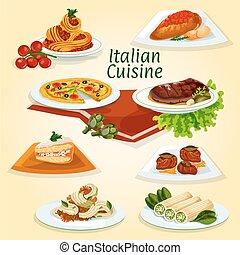 Italian cuisine dinner icon with popular dishes - Italian...