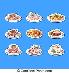 Italian cuisine dishes isolated labels