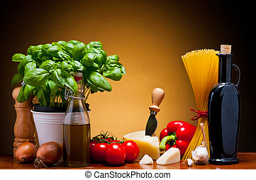 still life with traditional food ingredients for italian cuisine