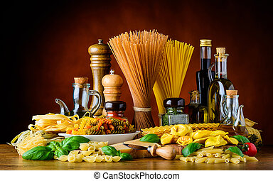 Italian Cuisine Food and cooking ingredients. Spaghetti, Tagliatelle and Seasoning with Spices
