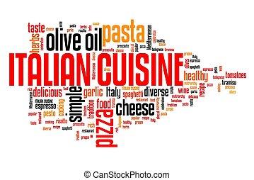 Italian cuisine - foods like pizza, pasta and lasagne. Word cloud sign.