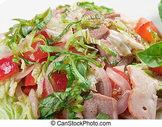 Healthy vegetarian Salad with beef tongue