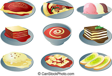 Italian cuisine: spaghetti, pizza, lasagna, soup, fettuccine, ravioli, garlic bread, tiramisu, ice cream
