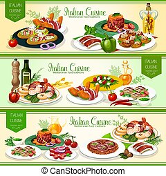 Italian cuisine meat dishes with vegetables, bread