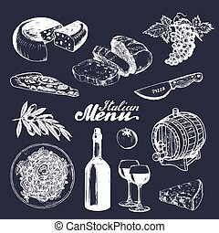 Italian cuisine menu. Hand sketched traditional southern europe food and drink signs. Vector set of mediterranean meal elements with lettering in ink style.