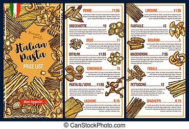 Italian cuisine pasta menu template - Italian pasta menu...