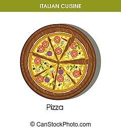 Italian cuisine pizza vector icon for restaurant menu or ...