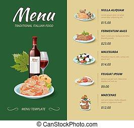 Italian cuisine restaurant menu. Vector design template