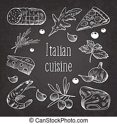 Italian Cuisine Sketch Doodle Chalkboard. Food Menu Design Template. Hand Drawn Traditional Italy Dishes with Pizza, Cheese and Meat. Vector illustration