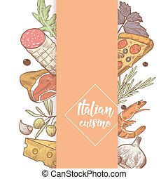 Italian Cuisine Sketch Doodle. Food Menu Design Template. Hand Drawn Traditional Italy Dishes with Pizza, Cheese and Meat. Vector illustration