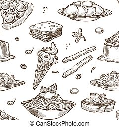 Italian cuisine sketch pattern background. Vector seamless...