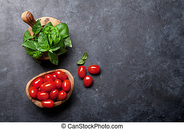 Italian cuisine. Tomatoes and basil