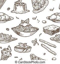 Italian cuisine vector sketch seamless pattern - Italian...