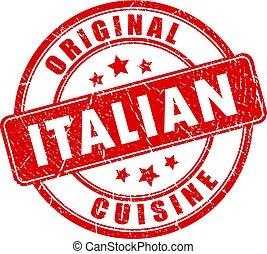 Italian cuisine vector stamp