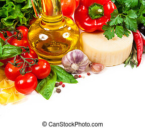 Italian cuisine. Vegetables, oil, spices and pasta