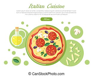 Italian Cuisine Web Banner. Pizza with Tomatoes