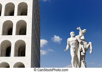 Building of the 20's, rationalist architecture in vogue at that time, Rome, Italy