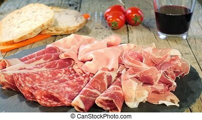 Italian Cured Meat Platter - assortment of cured meats,...