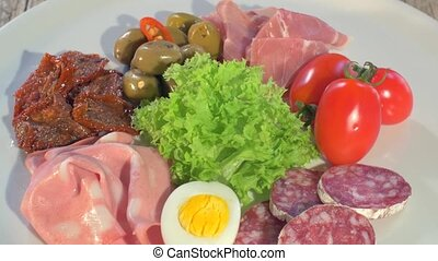 Italian Cured Meat Platter Rotating - assortment of cured...