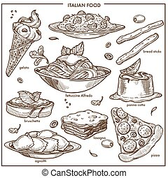 Italian cusine sketch dishes pizza, pasta, meat and dessert...