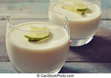 panna cotta with fresh lime - Italian dessert panna cotta...